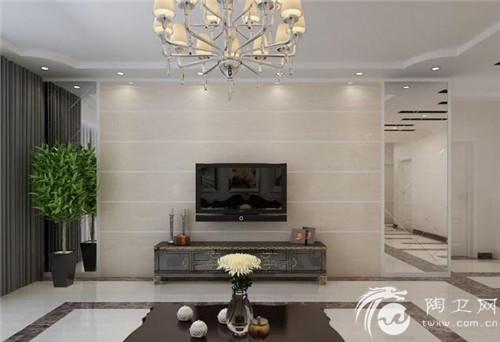 客厅瓷砖背景墙:特别干净的电视墙