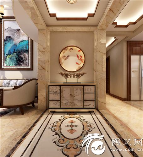 入户门厅玄关石材与木线完美搭配,玄关又取鱼为背景(年年有余)颜色又